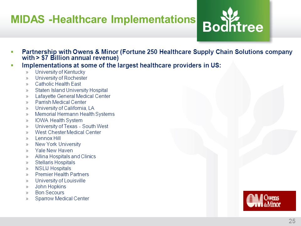 25 MIDAS -Healthcare Implementations Partnership with Owens & Minor (Fortune 250 Healthcare Supply Chain Solutions company with > $7 Billion annual re