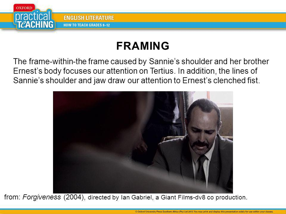 The frame-within-the frame caused by Sannies shoulder and her brother Ernests body focuses our attention on Tertius.