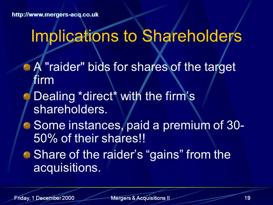 http://www.mergers-acq.co.uk Friday, 1 December 2000Mergers & Acquisitions II19 Implications to Shareholders A