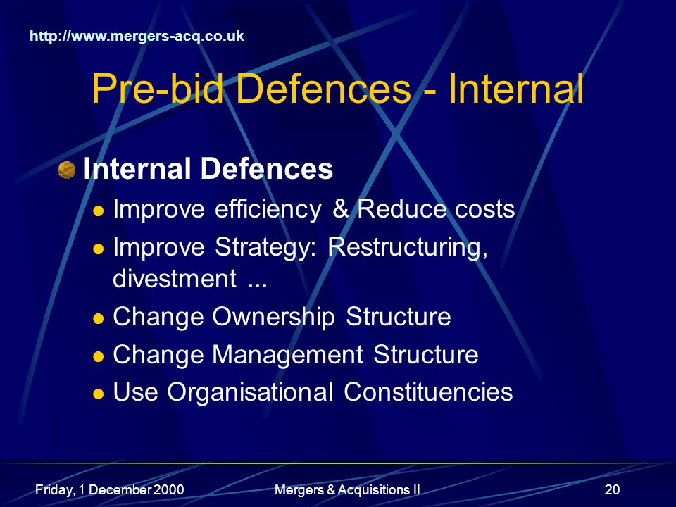 Friday, 1 December 2000Mergers & Acquisitions II20 Pre-bid Defences - Internal Internal Defences Improve efficiency & Reduce costs Improve Strategy: Restructuring, divestment...