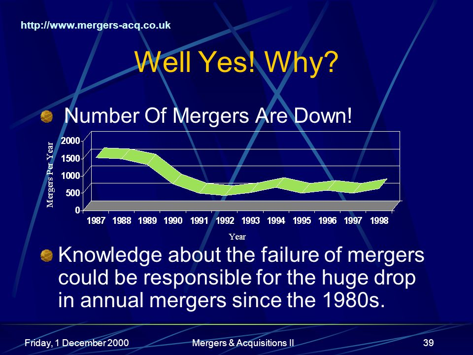 http://www.mergers-acq.co.uk Friday, 1 December 2000Mergers & Acquisitions II39 Well Yes.
