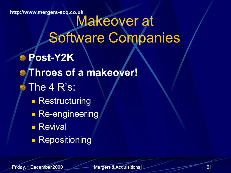 http://www.mergers-acq.co.uk Friday, 1 December 2000Mergers & Acquisitions II61 Makeover at Software Companies Post-Y2K Throes of a makeover.