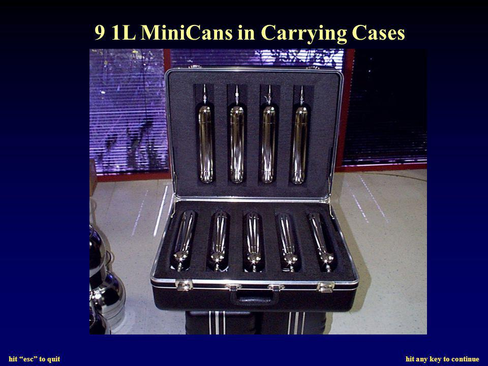 hit esc to quit hit any key to continue 9 1L MiniCans in Carrying Cases