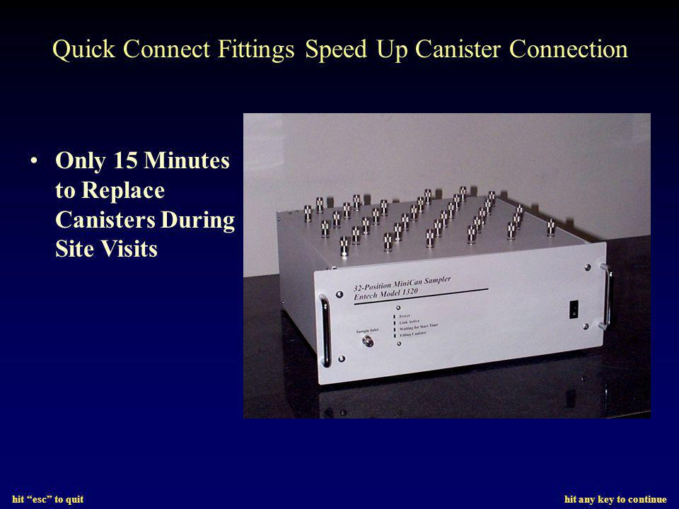 hit esc to quit hit any key to continue Quick Connect Fittings Speed Up Canister Connection Only 15 Minutes to Replace Canisters During Site Visits