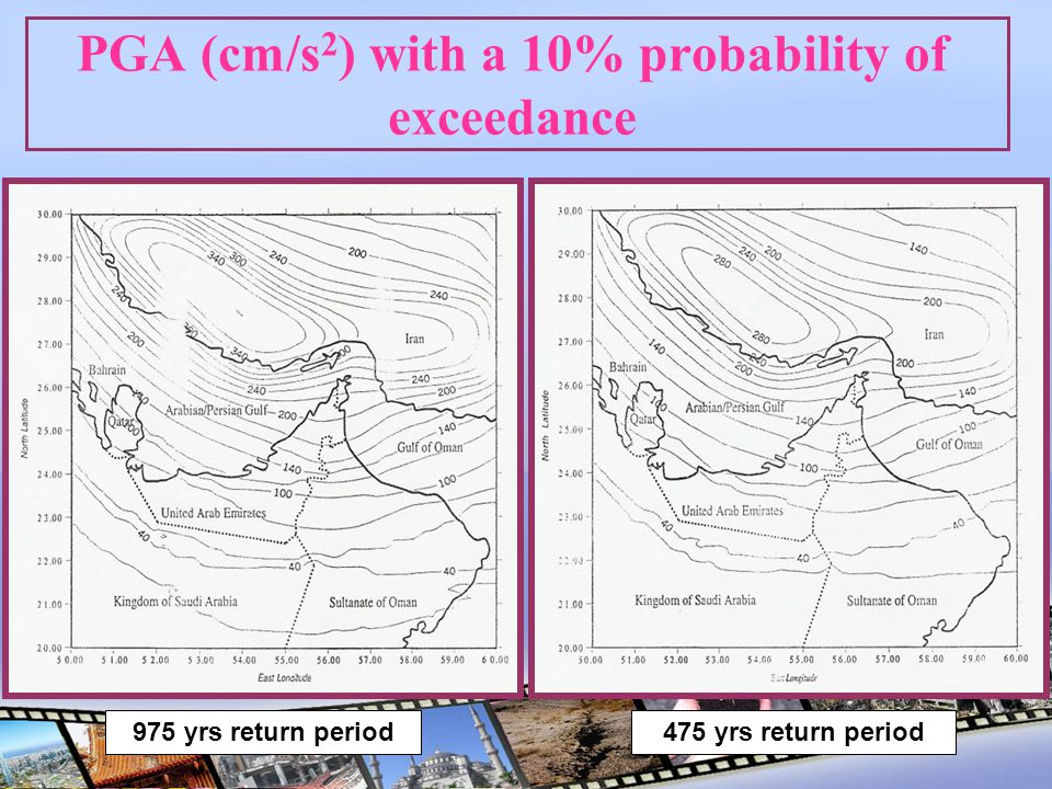 PGA (cm/s 2 ) with a 10% probability of exceedance 975 yrs return period475 yrs return period