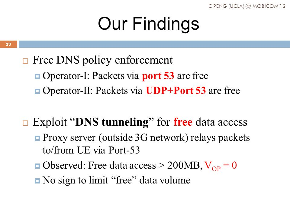 Our Findings Free DNS policy enforcement Operator-I: Packets via port 53 are free Operator-II: Packets via UDP+Port 53 are free Exploit DNS tunneling for free data access Proxy server (outside 3G network) relays packets to/from UE via Port-53 Observed: Free data access > 200MB, V OP = 0 No sign to limit free data volume C PENG (UCLA) @ MOBICOM 12 23