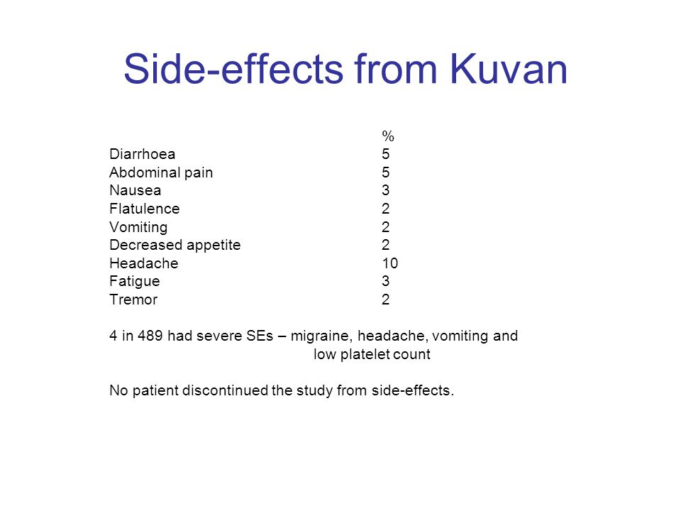 Side-effects from Kuvan % Diarrhoea 5 Abdominal pain 5 Nausea 3 Flatulence2 Vomiting2 Decreased appetite2 Headache10 Fatigue3 Tremor 2 4 in 489 had se