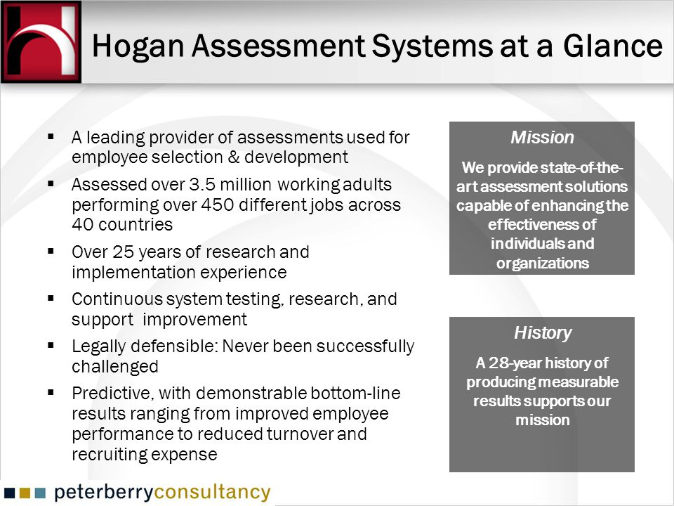Hogan Assessment Systems at a Glance A leading provider of assessments used for employee selection & development Assessed over 3.5 million working adu
