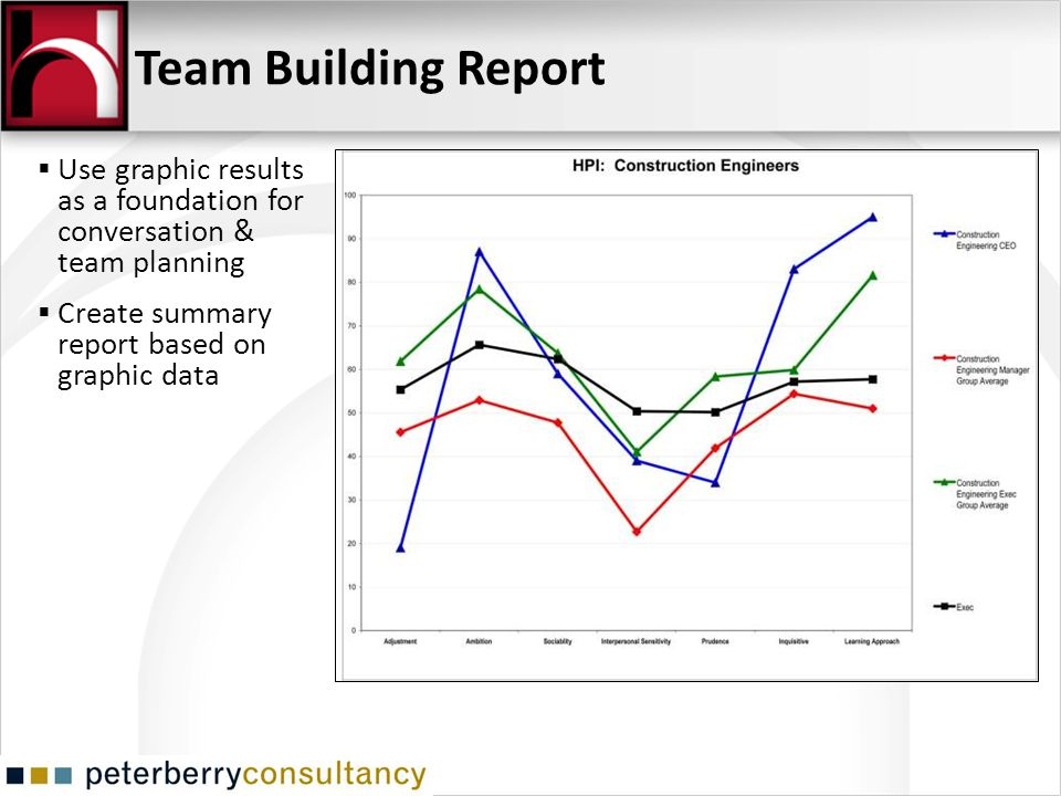 Use graphic results as a foundation for conversation & team planning Create summary report based on graphic data Team Building Report