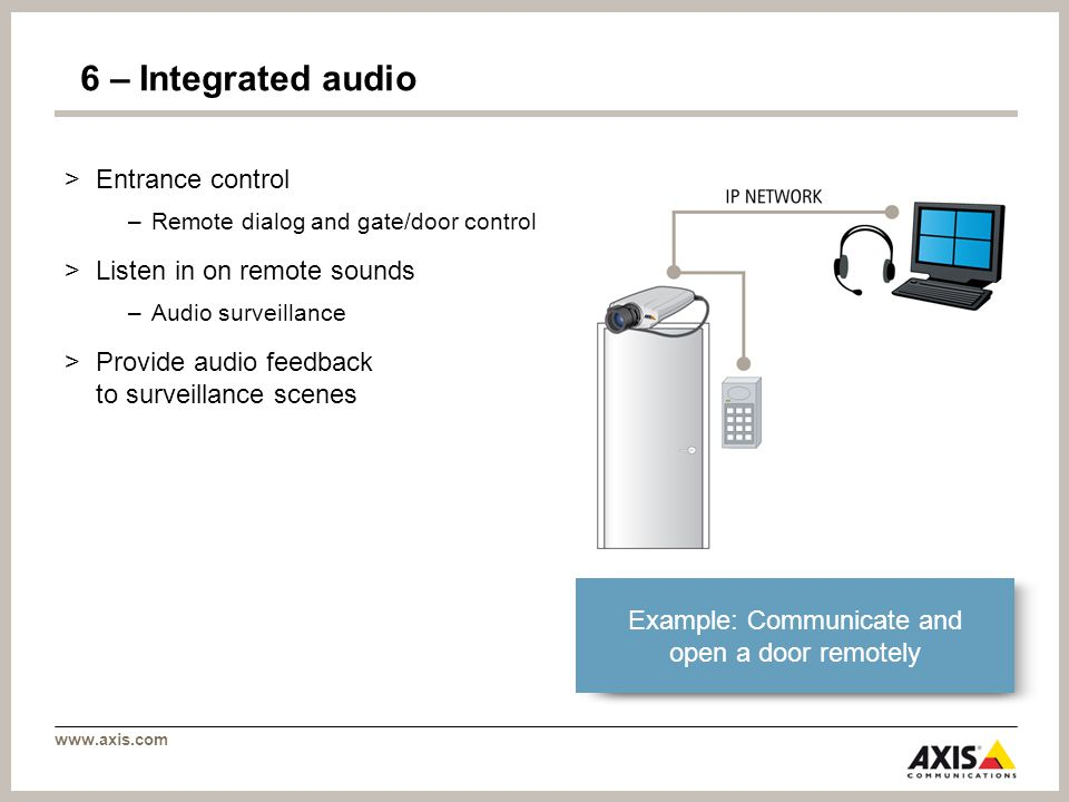 www.axis.com 6 – Integrated audio >Entrance control –Remote dialog and gate/door control >Listen in on remote sounds –Audio surveillance >Provide audio feedback to surveillance scenes Example: Communicate and open a door remotely