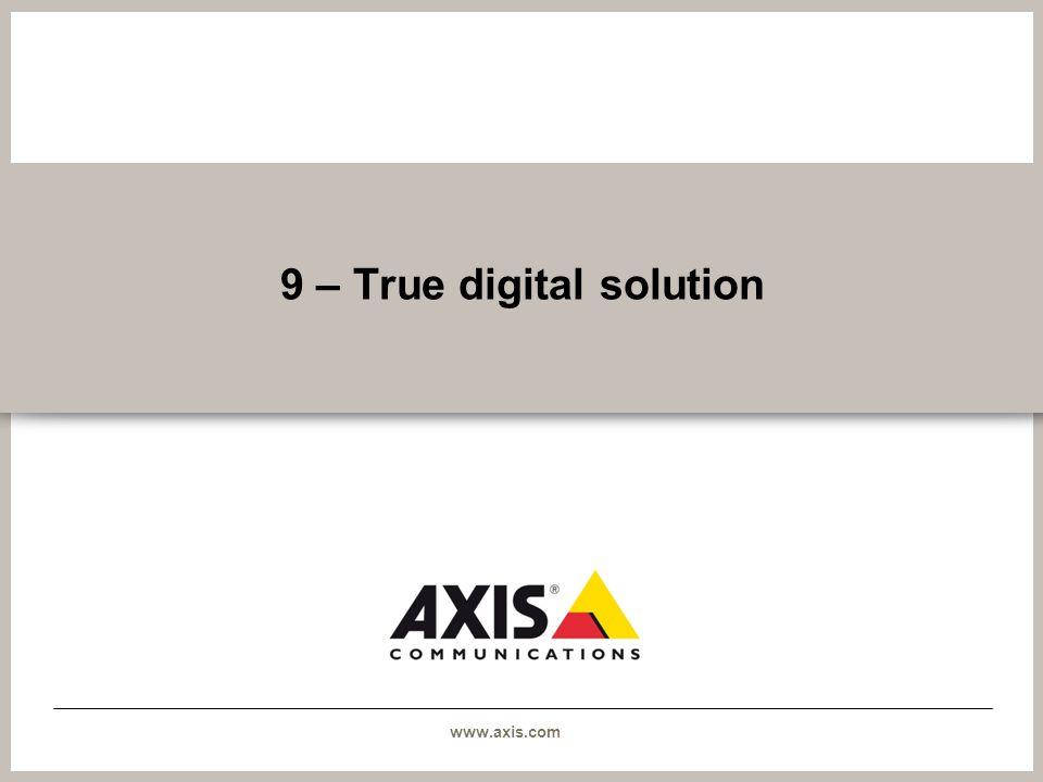 www.axis.com 9 – True digital solution