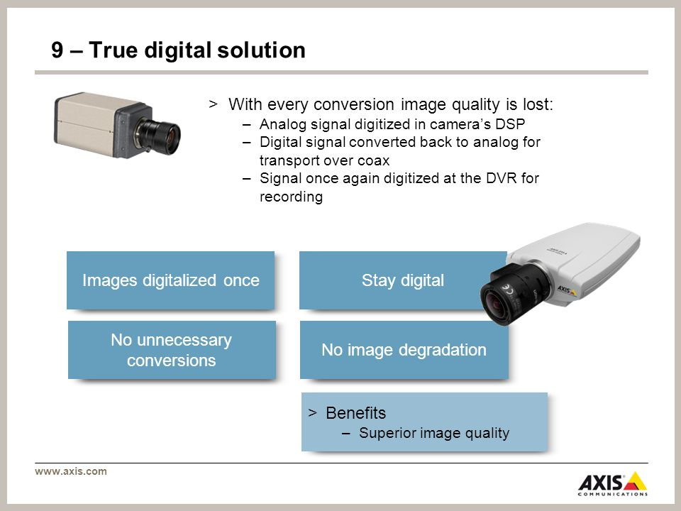 www.axis.com 9 – True digital solution >With every conversion image quality is lost: –Analog signal digitized in cameras DSP –Digital signal converted back to analog for transport over coax –Signal once again digitized at the DVR for recording > Benefits –Superior image quality Images digitalized once Stay digital No unnecessary conversions No image degradation