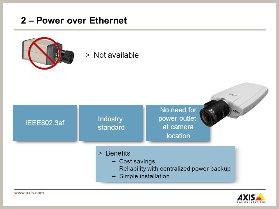 www.axis.com 2 – Power over Ethernet > Benefits –Cost savings –Reliability with centralized power backup –Simple installation >Not available No need for power outlet at camera location Industry standard IEEE802.3af