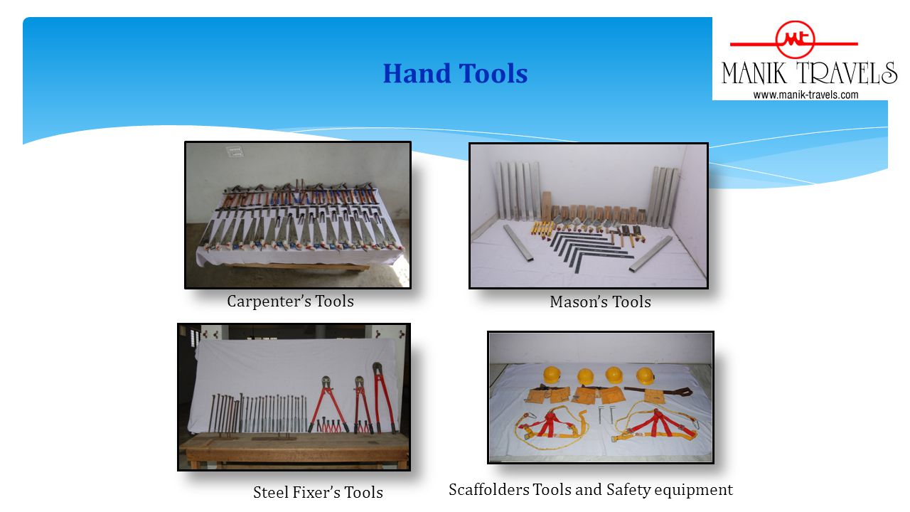 Hand Tools Carpenters Tools Masons Tools Steel Fixers Tools Scaffolders Tools and Safety equipment