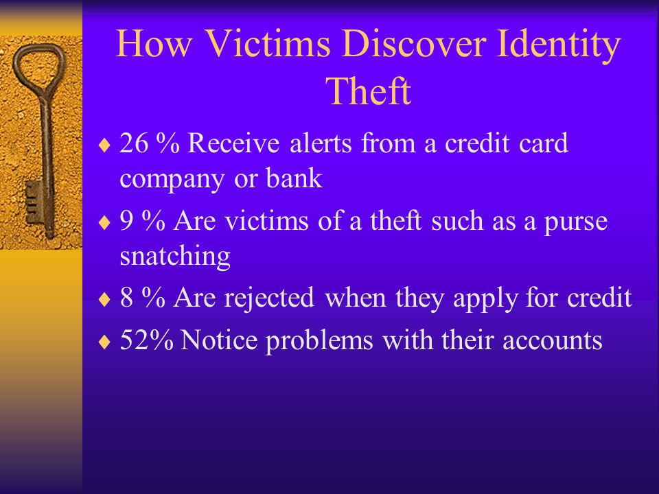 How Victims Discover Identity Theft 26 % Receive alerts from a credit card company or bank 9 % Are victims of a theft such as a purse snatching 8 % Are rejected when they apply for credit 52% Notice problems with their accounts