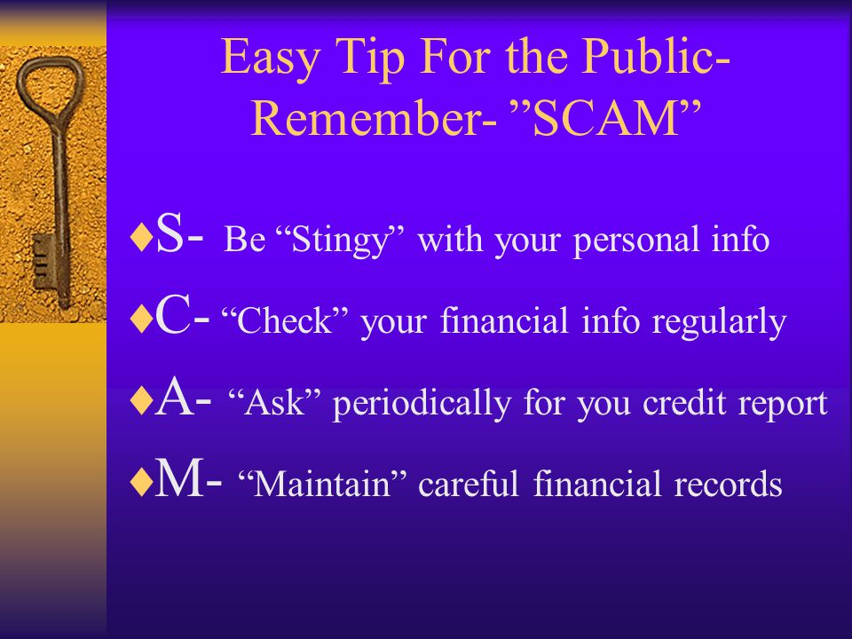 Easy Tip For the Public- Remember- SCAM S- Be Stingy with your personal info C- Check your financial info regularly A- Ask periodically for you credit report M- Maintain careful financial records