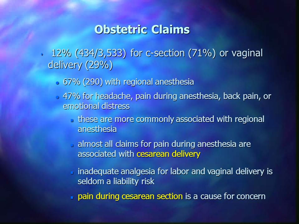 Learn from the mistakes of others Obstetric Versus Non-obstetric Claims Chadwick H: ASA Newsletter, 1999, pp 12-15