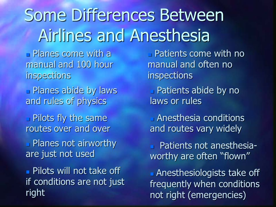 Back to the Analogy of Anesthesia v. Flying n There is no Paradox l For the pilot, flying is more dangerous than for the physician doing medicine l Fo