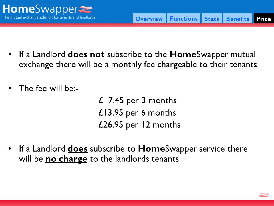 If a Landlord does not subscribe to the HomeSwapper mutual exchange there will be a monthly fee chargeable to their tenants The fee will be:- £ 7.45 per 3 months £13.95 per 6 months £26.95 per 12 months If a Landlord does subscribe to HomeSwapper service there will be no charge to the landlords tenants Functions StatsBenefitsPriceOverview