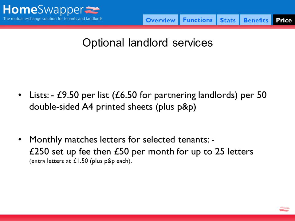 Optional landlord services Functions StatsBenefitsPriceOverview Lists: - £9.50 per list (£6.50 for partnering landlords) per 50 double-sided A4 printed sheets (plus p&p) Monthly matches letters for selected tenants: - £250 set up fee then £50 per month for up to 25 letters (extra letters at £1.50 (plus p&p each).