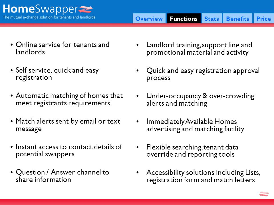 OverviewFunctionsStatsBenefitsPrice Online service for tenants and landlords Self service, quick and easy registration Automatic matching of homes that meet registrants requirements Match alerts sent by email or text message Instant access to contact details of potential swappers Question / Answer channel to share information Landlord training, support line and promotional material and activity Quick and easy registration approval process Under-occupancy & over-crowding alerts and matching Immediately Available Homes advertising and matching facility Flexible searching, tenant data override and reporting tools Accessibility solutions including Lists, registration form and match letters