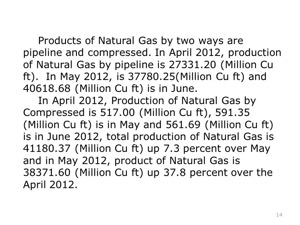 14 Products of Natural Gas by two ways are pipeline and compressed.