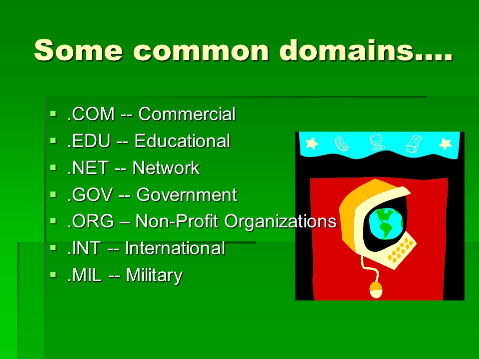 Some common domains…..COM -- Commercial.COM -- Commercial.EDU -- Educational.EDU -- Educational.NET -- Network.NET -- Network.GOV -- Government.GOV -- Government.ORG – Non-Profit Organizations.ORG – Non-Profit Organizations.INT -- International.INT -- International.MIL -- Military.MIL -- Military