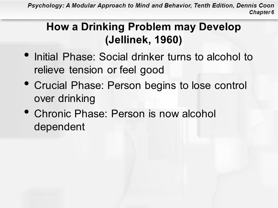 Psychology: A Modular Approach to Mind and Behavior, Tenth Edition, Dennis Coon Chapter 6 How a Drinking Problem may Develop (Jellinek, 1960) Initial Phase: Social drinker turns to alcohol to relieve tension or feel good Crucial Phase: Person begins to lose control over drinking Chronic Phase: Person is now alcohol dependent