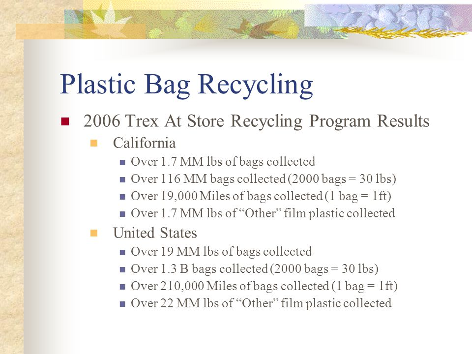Plastic Bag Recycling 2006 Trex At Store Recycling Program Results California Over 1.7 MM lbs of bags collected Over 116 MM bags collected (2000 bags = 30 lbs) Over 19,000 Miles of bags collected (1 bag = 1ft) Over 1.7 MM lbs of Other film plastic collected United States Over 19 MM lbs of bags collected Over 1.3 B bags collected (2000 bags = 30 lbs) Over 210,000 Miles of bags collected (1 bag = 1ft) Over 22 MM lbs of Other film plastic collected