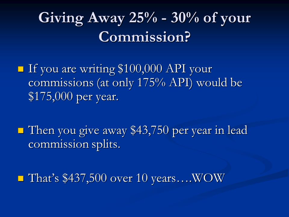 Giving Away 25% - 30% of your Commission.
