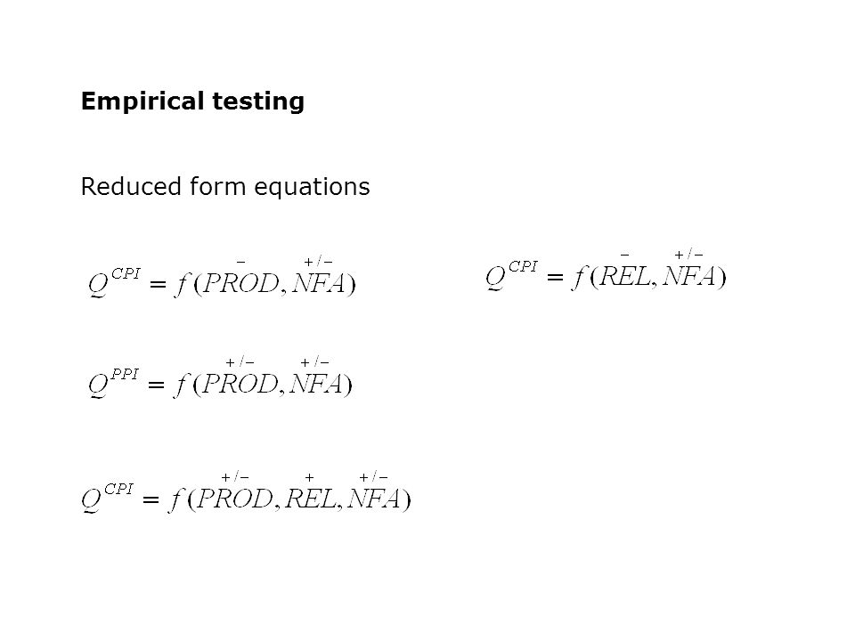 Empirical testing Reduced form equations