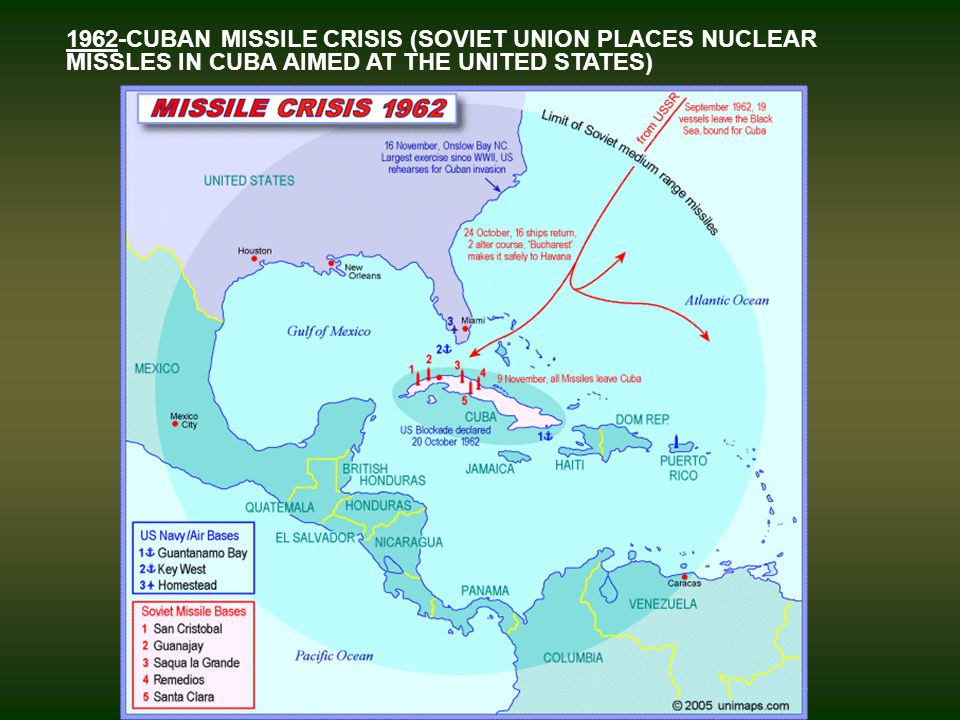 1962-CUBAN MISSILE CRISIS (SOVIET UNION PLACES NUCLEAR MISSLES IN CUBA AIMED AT THE UNITED STATES)