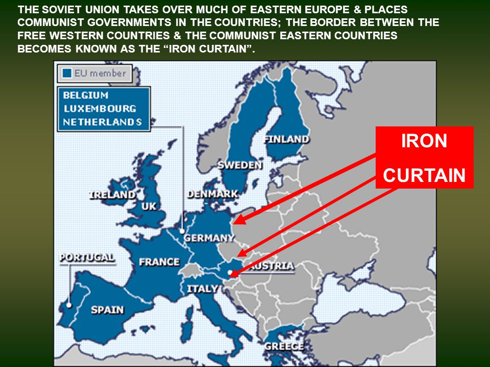 THE SOVIET UNION TAKES OVER MUCH OF EASTERN EUROPE & PLACES COMMUNIST GOVERNMENTS IN THE COUNTRIES; THE BORDER BETWEEN THE FREE WESTERN COUNTRIES & THE COMMUNIST EASTERN COUNTRIES BECOMES KNOWN AS THE IRON CURTAIN.