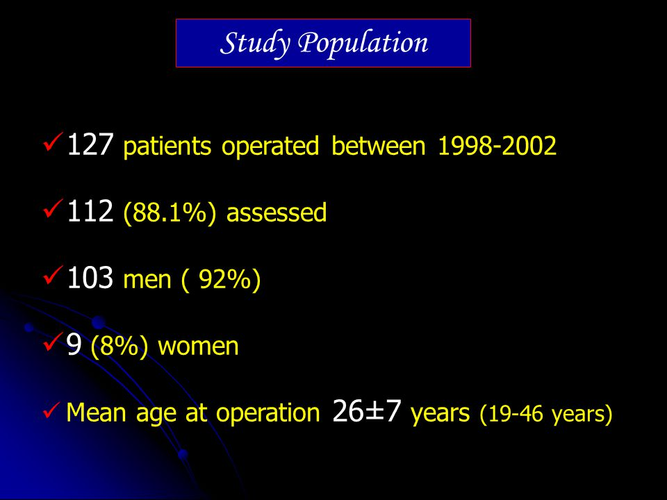 127 patients operated between 1998-2002 112 (88.1%) assessed 103 men ( 92%) 9 (8%) women Mean age at operation 26±7 years (19-46 years) Study Populati