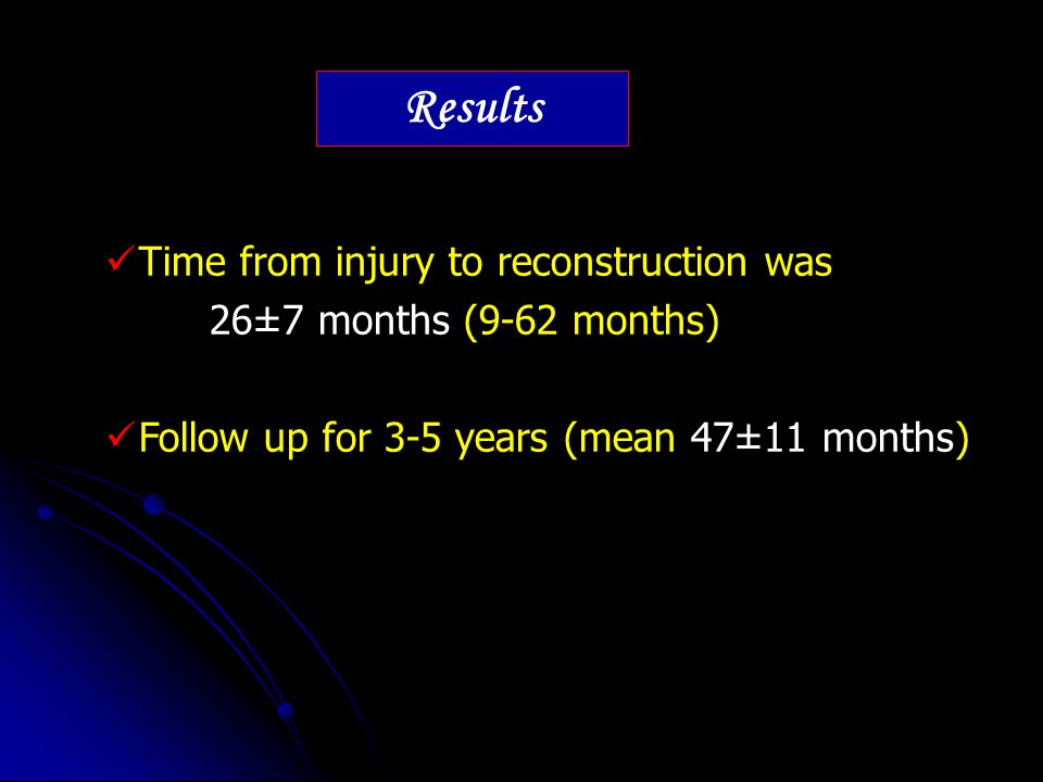 Time from injury to reconstruction was 26±7 months (9-62 months) Follow up for 3-5 years (mean 47±11 months) Results