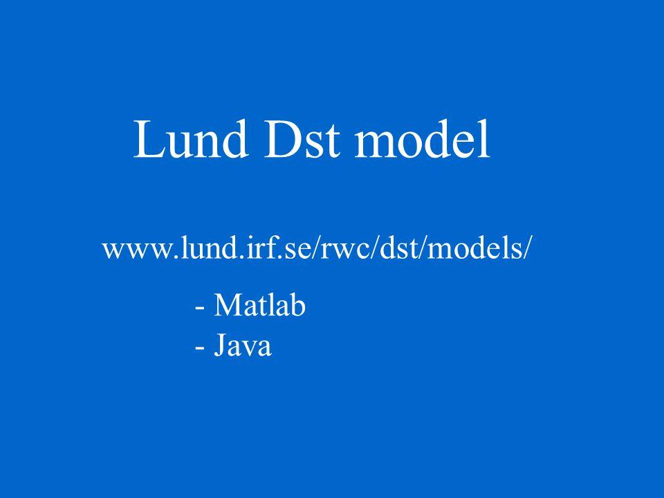 Lund Dst model www.lund.irf.se/rwc/dst/models/ - Matlab - Java