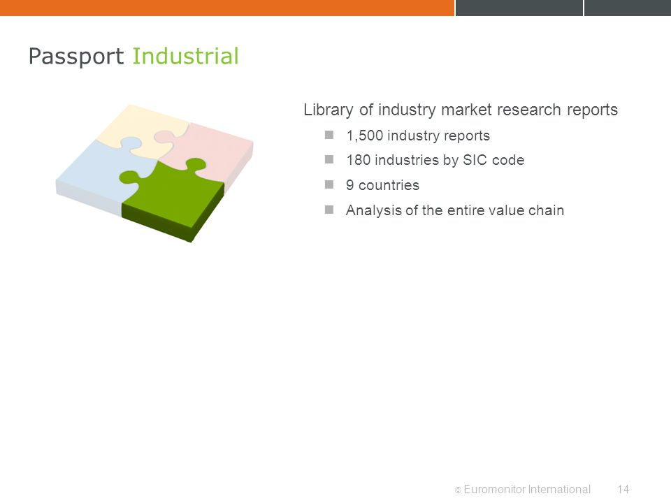© Euromonitor International14 Passport Industrial Library of industry market research reports 1,500 industry reports 180 industries by SIC code 9 coun