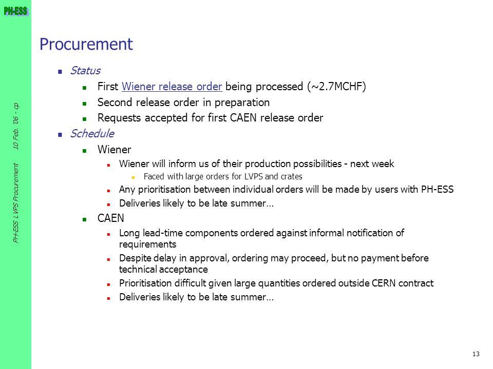 13 10 Feb. '06 - cp PH-ESS LVPS Procurement Procurement Status First Wiener release order being processed (~2.7MCHF)Wiener release order Second releas