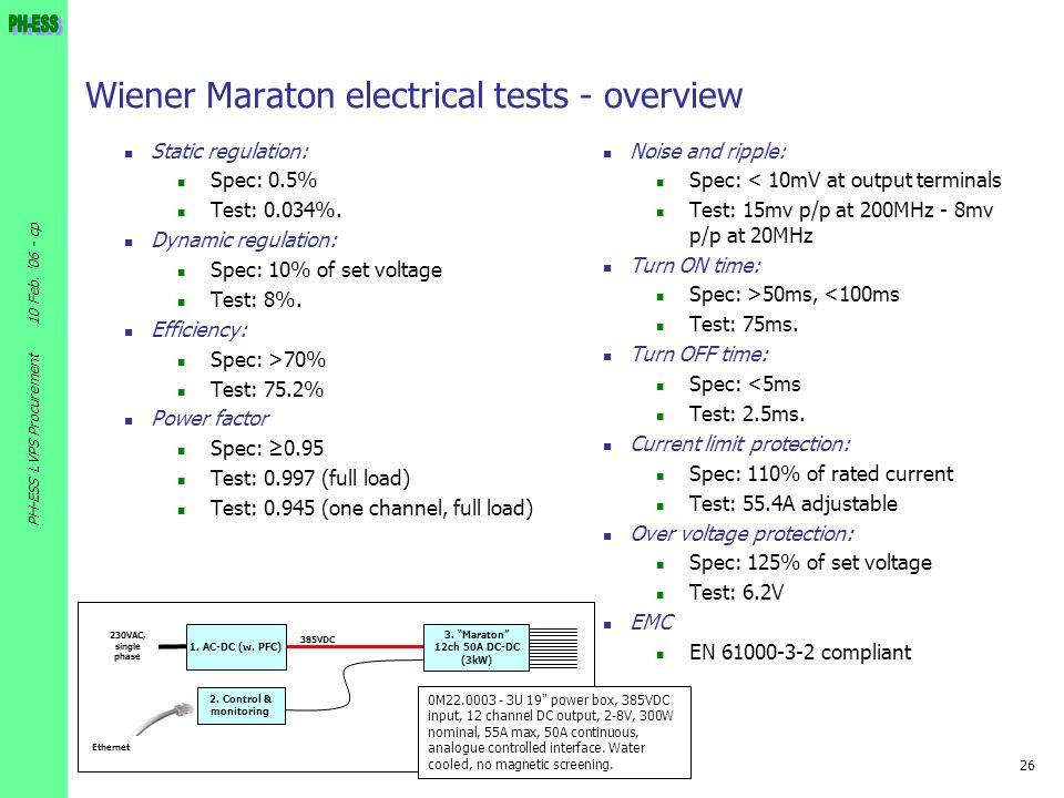 26 10 Feb. '06 - cp PH-ESS LVPS Procurement Wiener Maraton electrical tests - overview Static regulation: Spec: 0.5% Test: 0.034%. Dynamic regulation: