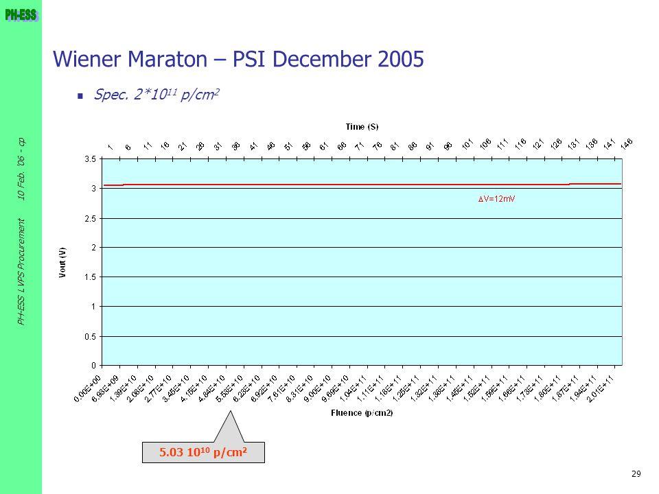 29 10 Feb. '06 - cp PH-ESS LVPS Procurement Wiener Maraton – PSI December 2005 Spec. 2*10 11 p/cm 2 5.03 10 10 p/cm 2