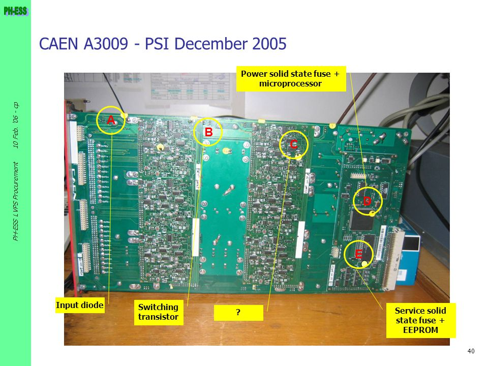 40 10 Feb. '06 - cp PH-ESS LVPS Procurement CAEN A3009 - PSI December 2005 A B C D E Input diode Switching transistor ? Power solid state fuse + micro