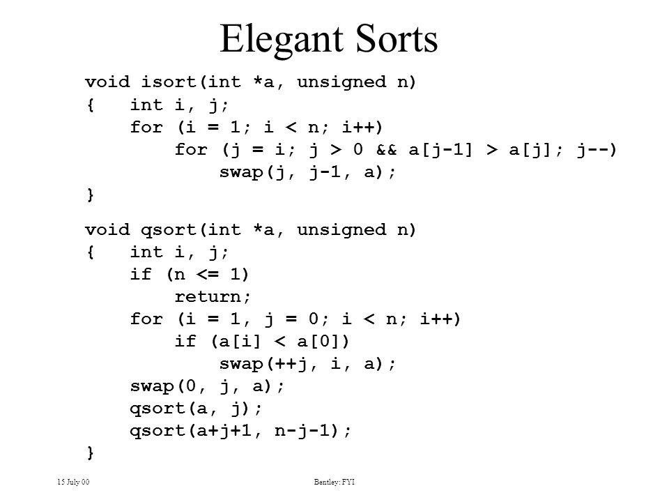 15 July 00Bentley: FYI Elegant Sorts void isort(int *a, unsigned n) { int i, j; for (i = 1; i < n; i++) for (j = i; j > 0 && a[j-1] > a[j]; j--) swap(j, j-1, a); } void qsort(int *a, unsigned n) { int i, j; if (n <= 1) return; for (i = 1, j = 0; i < n; i++) if (a[i] < a[0]) swap(++j, i, a); swap(0, j, a); qsort(a, j); qsort(a+j+1, n-j-1); }
