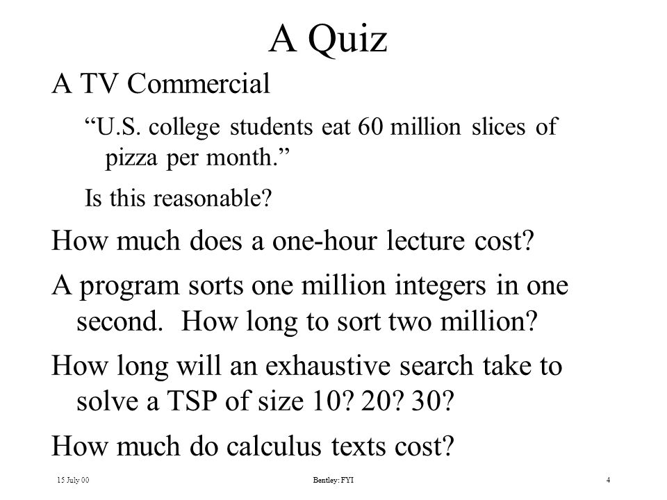 15 July 00Bentley: FYI4 A Quiz A TV Commercial U.S.