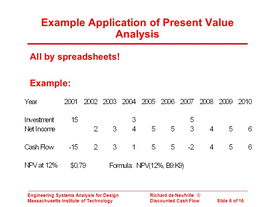Engineering Systems Analysis for Design Richard de Neufville © Massachusetts Institute of Technology Discounted Cash Flow Slide 6 of 16 Example Application of Present Value Analysis All by spreadsheets.