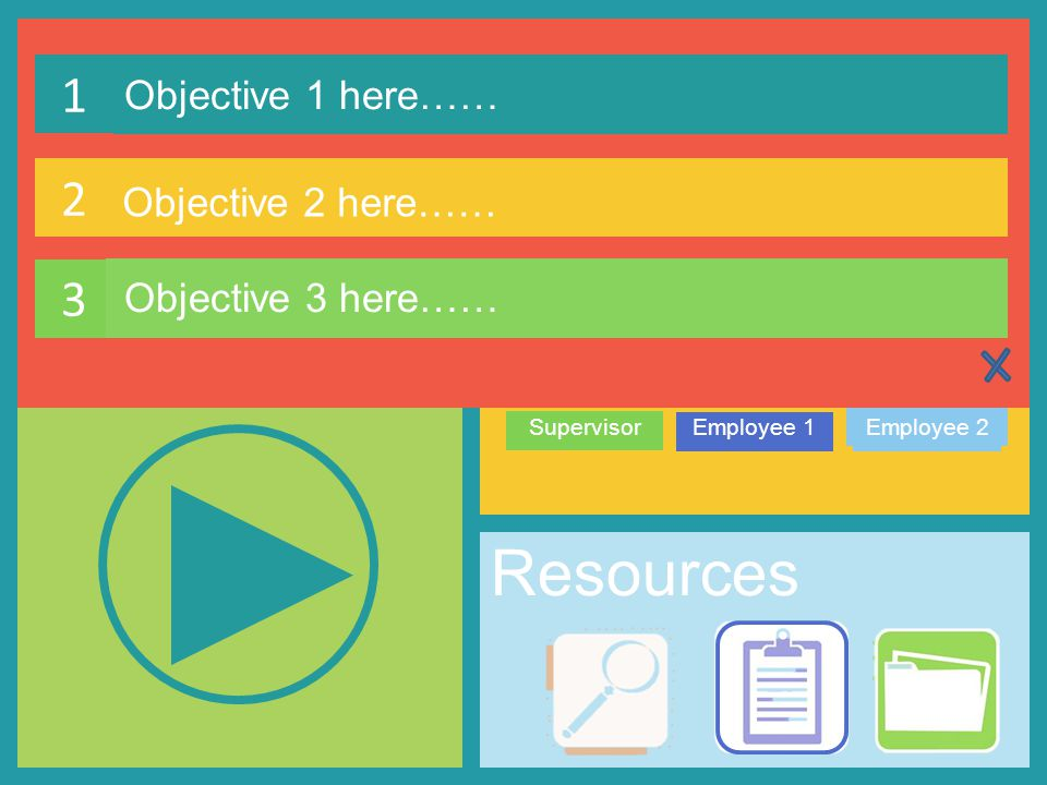 Learning Objectives SupervisorEmployee 1Employee 2 3 Resources Get Started… Coaching Employees 1 Objective 1 here…… Characters 2 Objective 2 here…… 3 Objective 3 here……