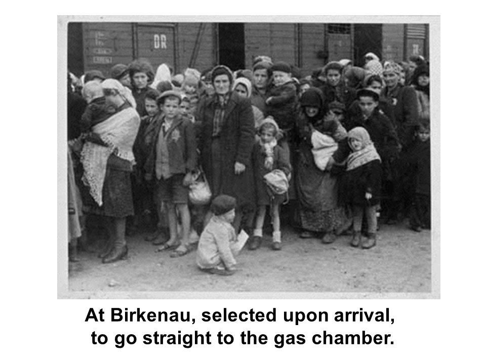 At Birkenau, selected upon arrival, to go straight to the gas chamber.