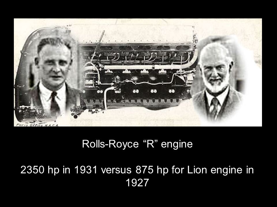 Rolls-Royce R engine 2350 hp in 1931 versus 875 hp for Lion engine in 1927