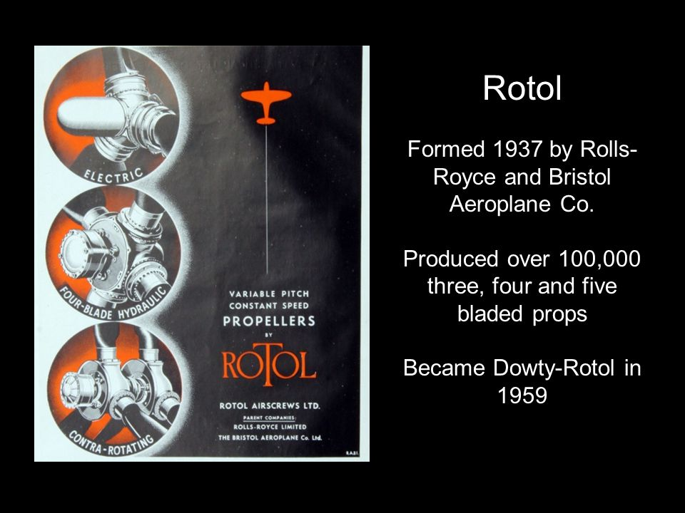 Rotol Formed 1937 by Rolls- Royce and Bristol Aeroplane Co.