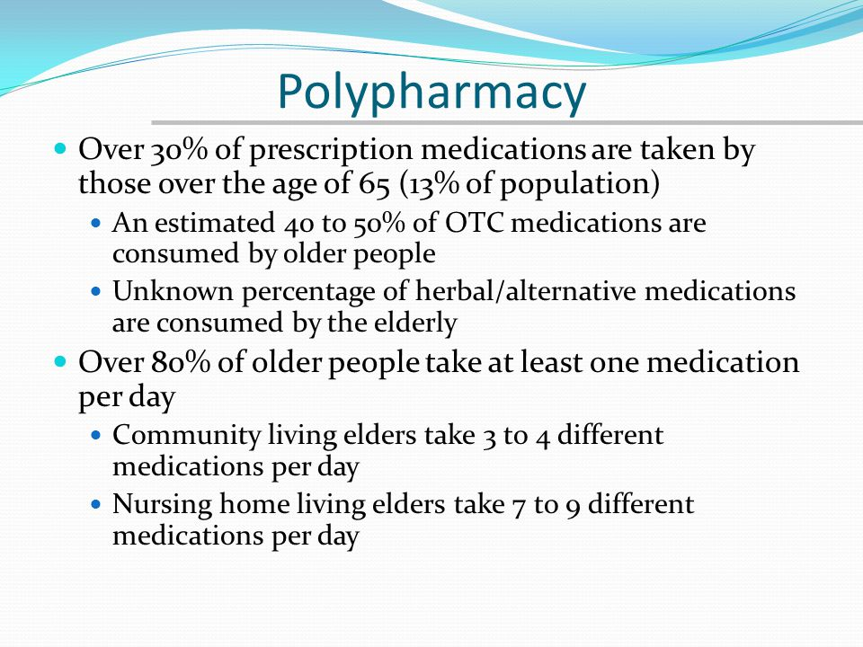 Polypharmacy An estimated 25% of all prescribed medications for older people are potentially inappropriately selected or dosed (Beers List) Pre-Part D data from Oklahoma revealed that 42% of Medicaid recipients and 34% of state retirees were on a potentially inappropriate medication An estimated 30% of all medications for older people are considered unnecessary