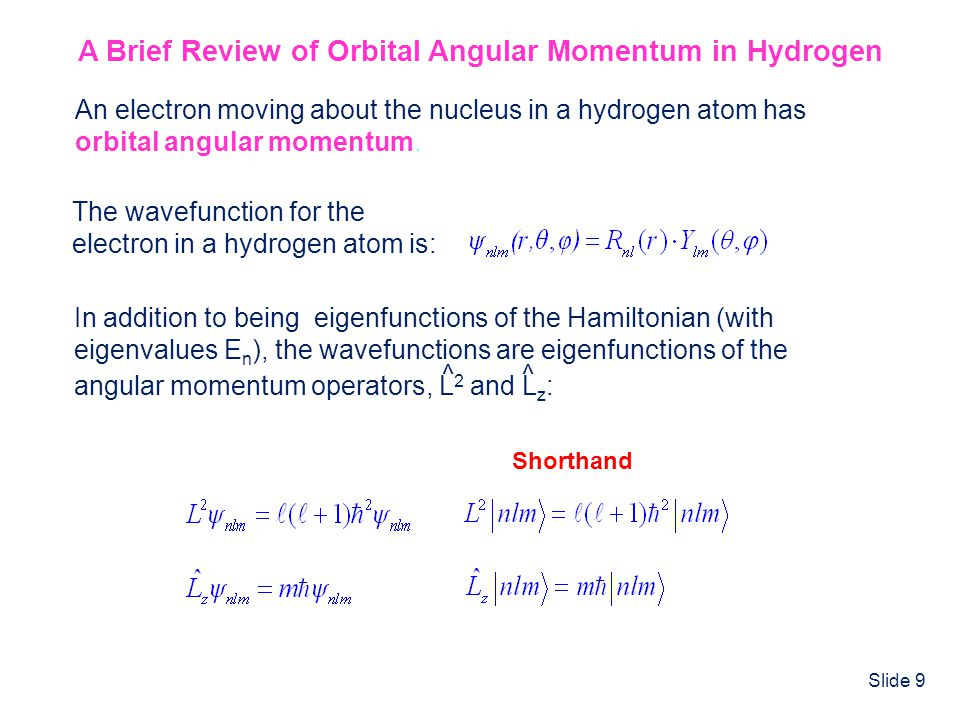 Slide 9 A Brief Review of Orbital Angular Momentum in Hydrogen The wavefunction for the electron in a hydrogen atom is: An electron moving about the n